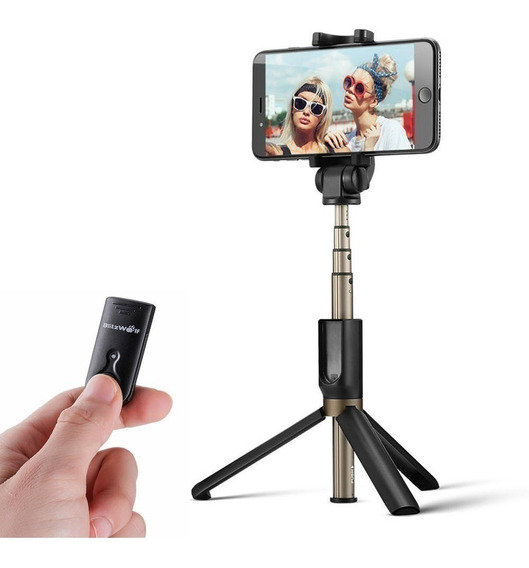 Pau De Selfie Com Tripé Disparador Bluetooth Blitz Wolf Bs3
