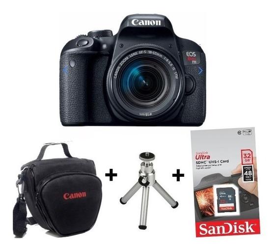 Câmera Canon Eos Rebel T7i C/ 18-55 + Bolsa + Sd32gb + Tripé