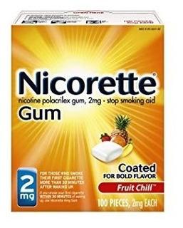 Nicorette Gum 100 Chicle Nicotina 2mg Sabor Frutas Fumar