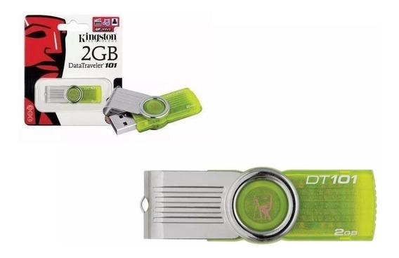 Kit 05 Pen Drive 2gb Giratório Verde Limão 100% Original 2gb