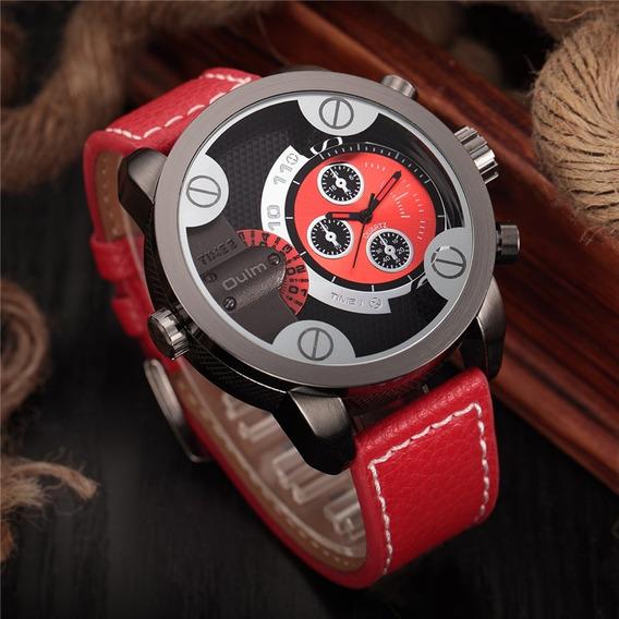 Relógio De Pulso Quartzo - Oulm Militar Cailuxe - Vermelho
