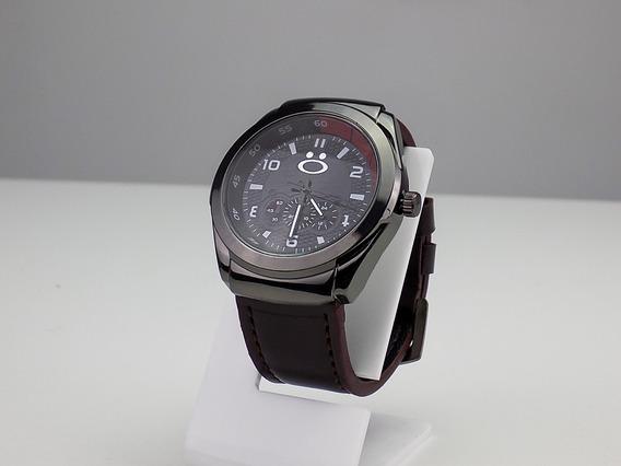 Relógio Masculino Original Couro Preto Prata Barato Luxo