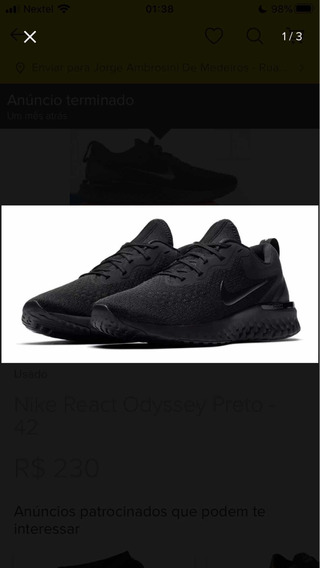 Tênis Nike Odyssey React All Black