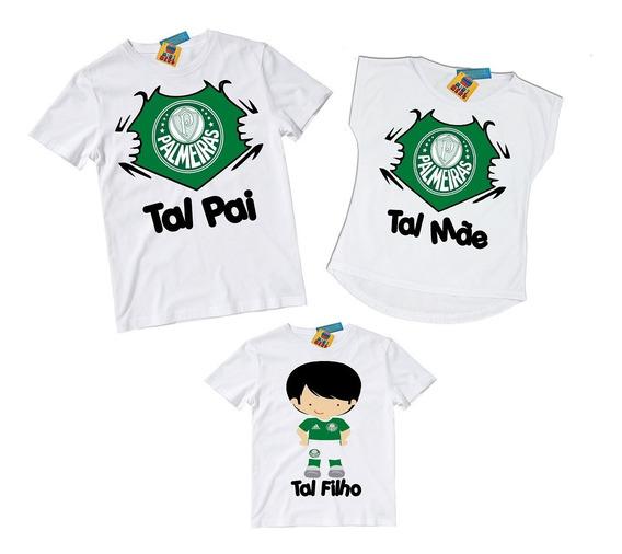 Kit 3 Camisetas Tal Mae Pai E Tal Filho Palmeiras Qqr Time