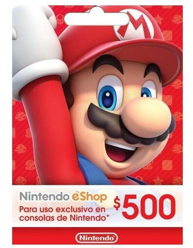 Imagen 1 de 1 de Tarjeta Gif Card Nintendo Eshop 500 Pesos (código)