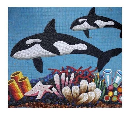 Imagen 1 de 2 de Figura Orcas  De 1.50 Y 0.90 Cms.para Alberca En Mosaico
