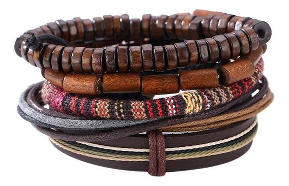Pulseira Indiana Importada Tibetana Original Kit Composto 5 Pulseiras Rusticas Couro Madeira Trançados Ajustavel #143