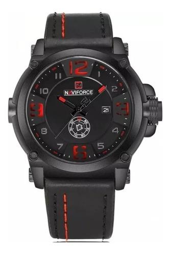 Relógio Masculino Naviforce Analógico Couro Vermelho Nf-9099