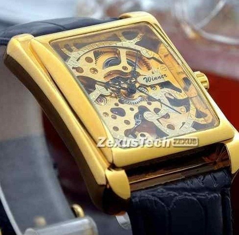 Relógio Quadrado Masculino Homem Dourado Mecânico Couro