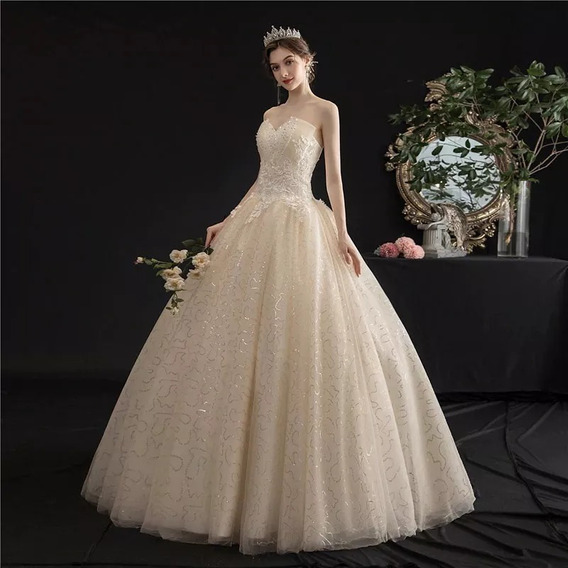 Hermoso Vestido De Novia Elegante Color Beige Champagne Boda