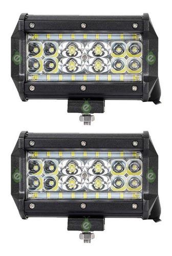 Caja X 2 Faros Reflector Led 84w Negro 12/24v Para Tractor