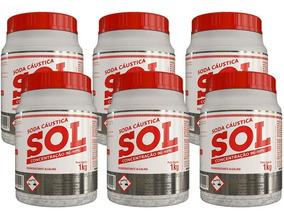 Kit 6 - Soda Cáustica Sol 1kg Com Concentração 96% A 99%