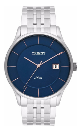 Relógio Orient Masculino Slim Mbss1293 D1sx Azul Rose Aço