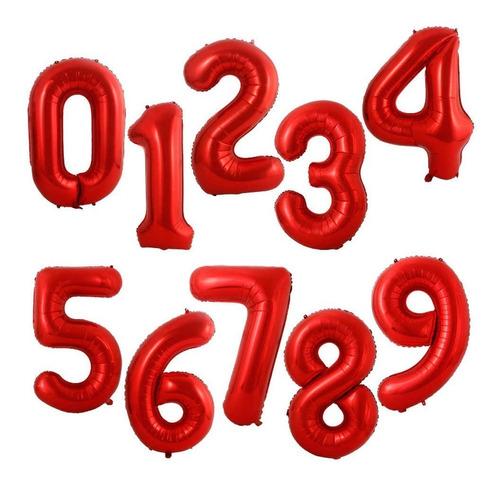 Globos Metalizados Numero Grande Rojo-76 Cm- Universo Mágico
