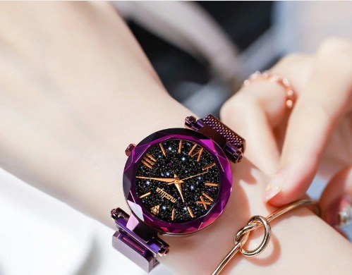 Relógio Feminino De Pulso Céu Estrelado Roxo -promoção