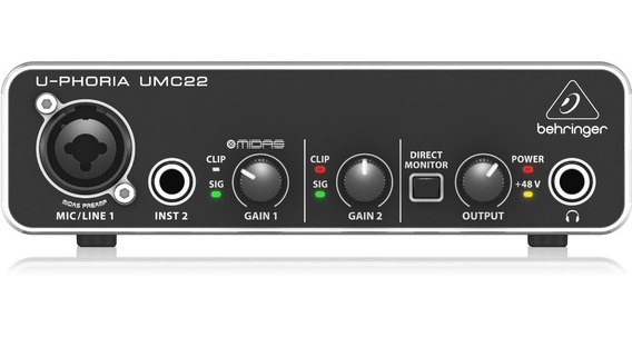 Interface De Audio Usb Behringer Placa Uphoria Umc22