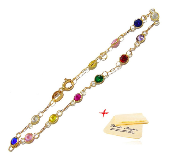 Pulseira Pedras Coloridas Zirconia De Ouro 18k 750 Infantil
