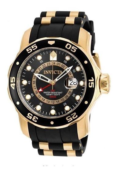 Invicta Pro Diver Coleção Gmt 18k Banhado A Ouro 6991