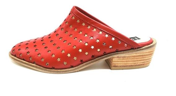 Zueco Zapato Cuero Texano Charrito Calado Mujer 409pm