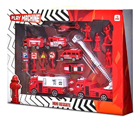 Conjunto Bombeiro Mini Resgate Vermelho Brinquedo