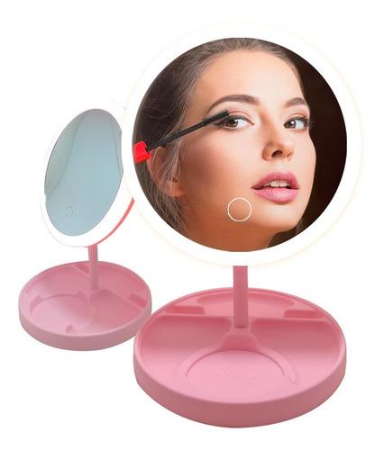 Espejo Luz Led Táctil Armable Maquillaje Usb Porta Accesorio