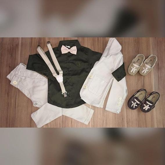Conjuntblazer Cotelê Camisa Social Calça Cotele Suspensório