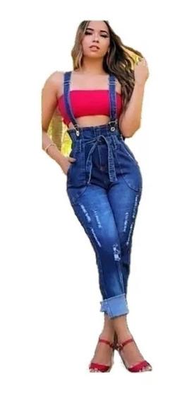 Calça Jeans Salopete Com Laço - Novidade Da Moda Blogueiras