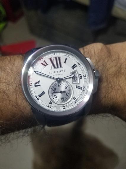 Reloj Calibre De Cartier, Modelo Grande, Acero, Estuche