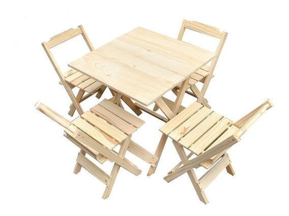Mesa De Madeira Com 4 Cadeira Dobrável Sem Pintura Para Bar