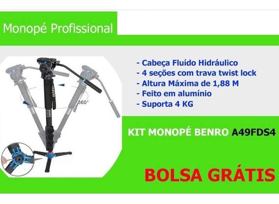 Kit Monopé Benro P/ Vídeo A49fds4 C/ Cabeça Hidráulica + Pés