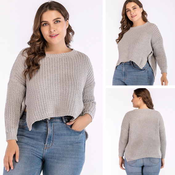 Women Plus Size Cropped Knitted Sweater Low High Irregular