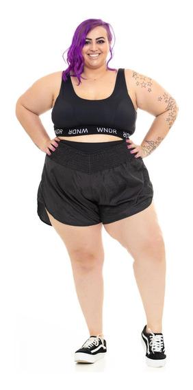 Shorts Plus Size Wonder Size By Ju Romano Microfibra Preto