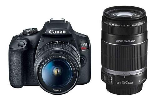 Canon EOS Rebel T7 18-55mm IS II + 55-250mm IS II Kit DSLR cor preto