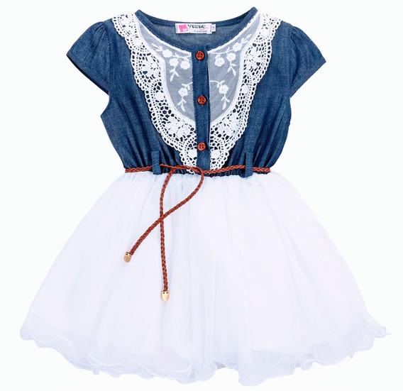 Vestido Infantil Jeans Tutu Tule Importado Festa