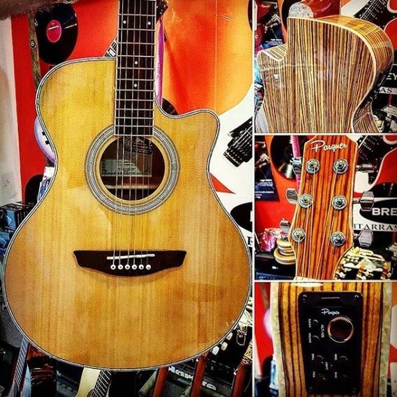 Guitarra Electroacustica Parquer De Lujo Zebrano Oportunidad