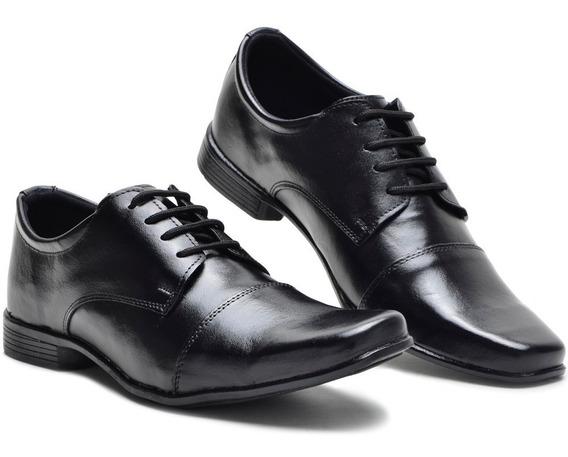 Sapato Masculino Social Bico Quadrado Em Couro Casual Terno