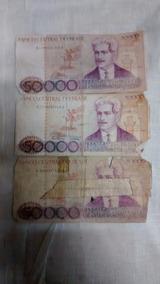 Cédulas Antigas 3 Notas 50.000 Cruzeiros Dinheiro Antigo