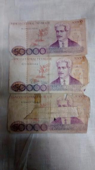 Cédula 50.000 Cruzeiros 3 Notas Nota De 50.000 Cruzeiros