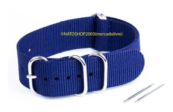 Pulseira Relógio Nato Zulu Nylon 20mm Azul Marinho 5 Anéis