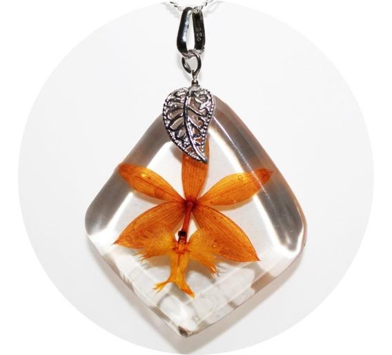 Collar Orquídea Eterna Plata Fina925 Regalo Flor Bella Amor