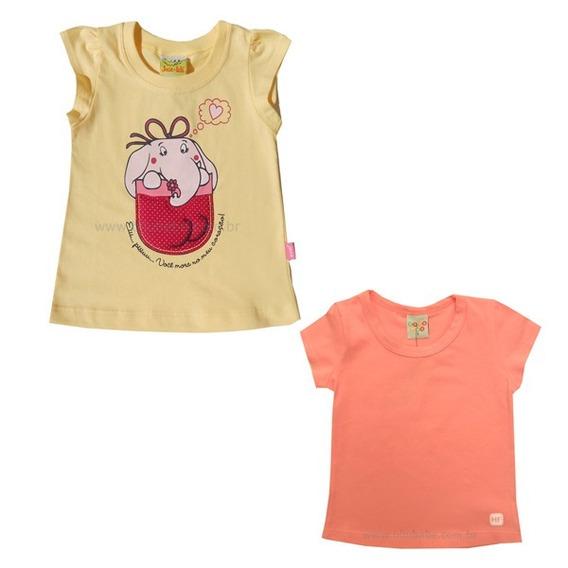 11.859/1062- Kit Com 2 Camisetas Manga Curta Para Menina
