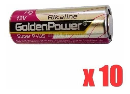 10 Peças Pilha Alcalina Golden Power 23a 12v Controle Longa