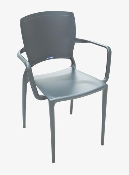 Cadeira Com Bracos Sofia Fechada Grafite