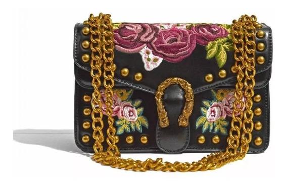Bolsa Feminina Importada Flores Alça Corrente Dourada 12x