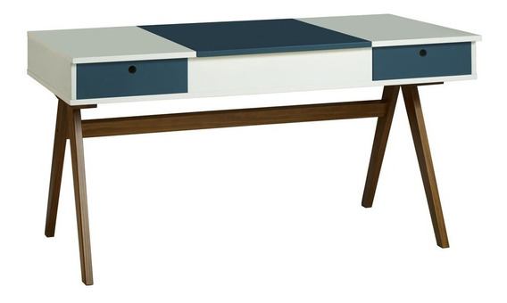 Mesa Escrivaninha Delacroix 430 Nogal/branco/azul Noite