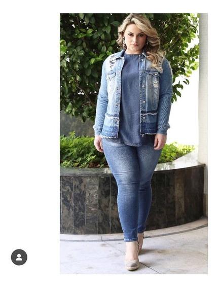Jaqueta Jeans Destroyed Blubetty Plus Size