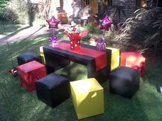 Alquiler Living Puff Mesa Telas Globos Candybar Decoracion