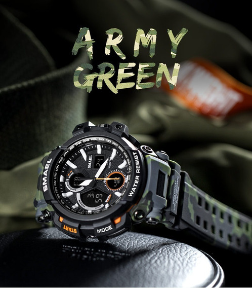 Relógio Smael 1708b Black Gree Camuflage Militar Prova Dágua