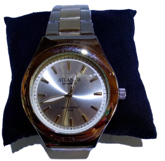 Relógio Atlantis Analógico Prata Fundo Dourado - G3340