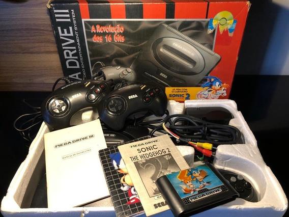 Mega Drive 3 (completo Com Sonic2 + 4 Controles + Cabo Av)